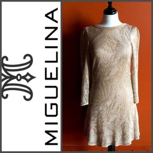 MIGUELINA Gold Open Back Bell Sleeve Mini Dress